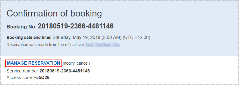 "The ""MANAGE RESERVATION"" link in a booking confirmation email"